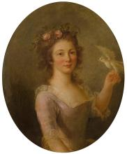 ATTRIBUTED TO MARIE-VICTOIRE LEMOINE PARIS 1754 - 1820 | Young girl with a bird