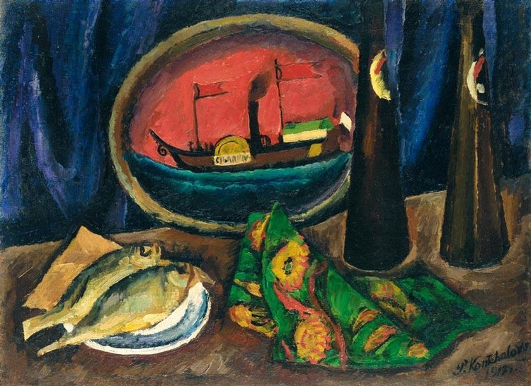 f - PETR PETROVICH KONCHALOVSKY, 1876-1956 STILL LIFE WITH BEER AND FISH