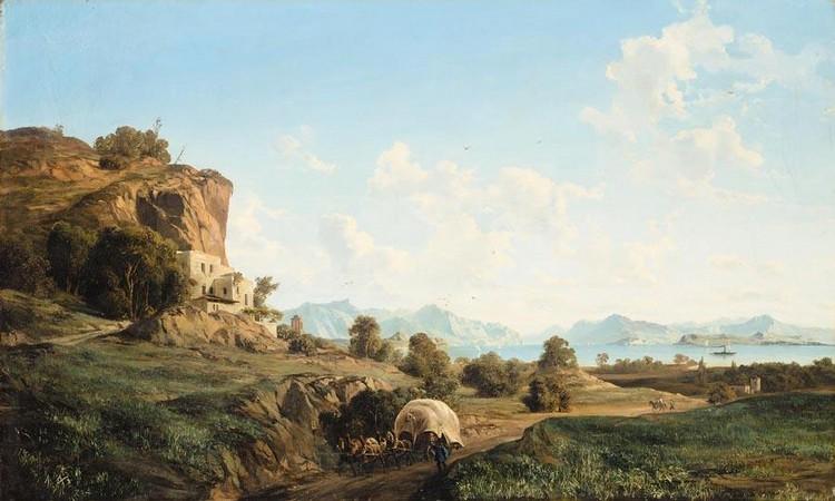 LUDWIG FRANZ KARL BOHNSTEDT, 1822-1885 MOUNTAIN LANDSCAPE