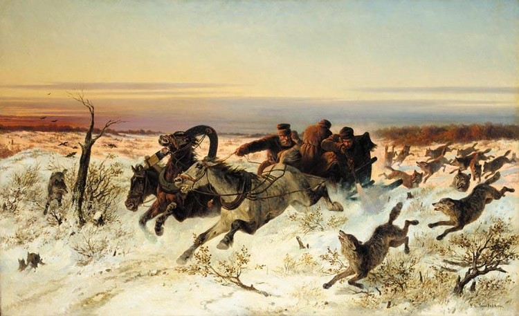 NICHOLAI EGOROVICH SVERCHKOV, 1817-1898 ATTACKED BY WOLVES