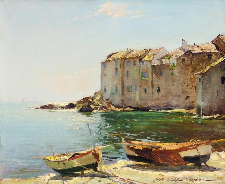 KONSTANTIN ALEXANDROVICH WESTCHILOV, 1878-1945 FISHERMEN'S HOUSES IN ERBALUNGA, CORSICA