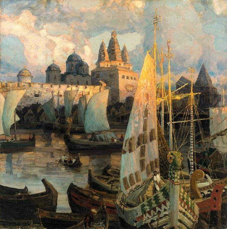 APOLLINARI MIKHAILOVICH VASNETSOV, 1856-1933 THE HARBOUR AT NOVGOROD
