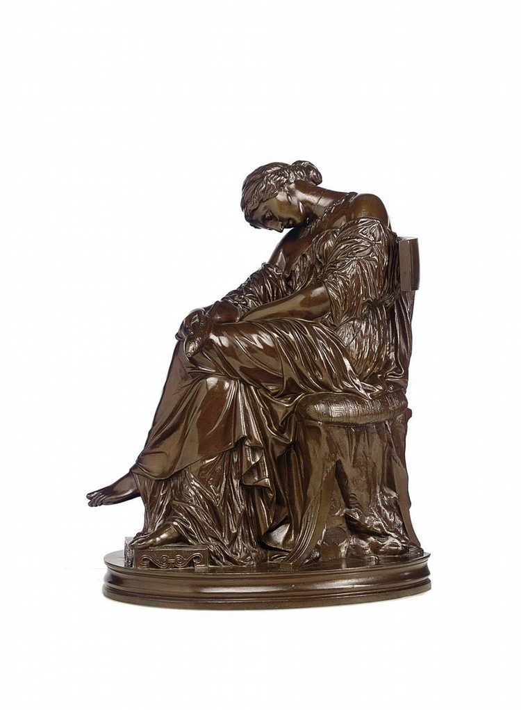 PIERRE JULES CAVELIER, 1814-1896, A BRONZE SCULPTURE OF 'LA FILEUSE' SECOND HALF 19TH CENTURY