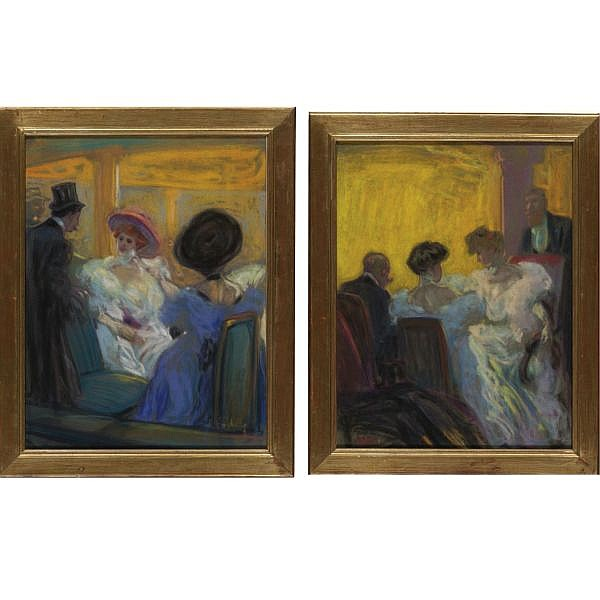 Louis Fortuney , 1878-1950 A Box at the Opéra Comique and A Box at the Alhambra (A pair) pastel on paper laid down on board