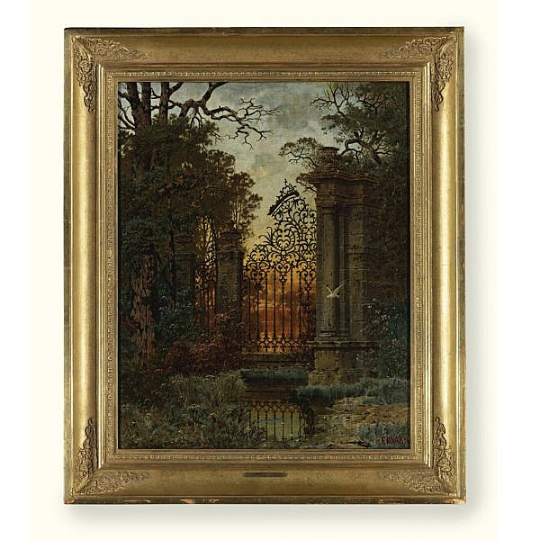 Ferdinand Knab , 1834-1902 The Park's Gate oil on canvas
