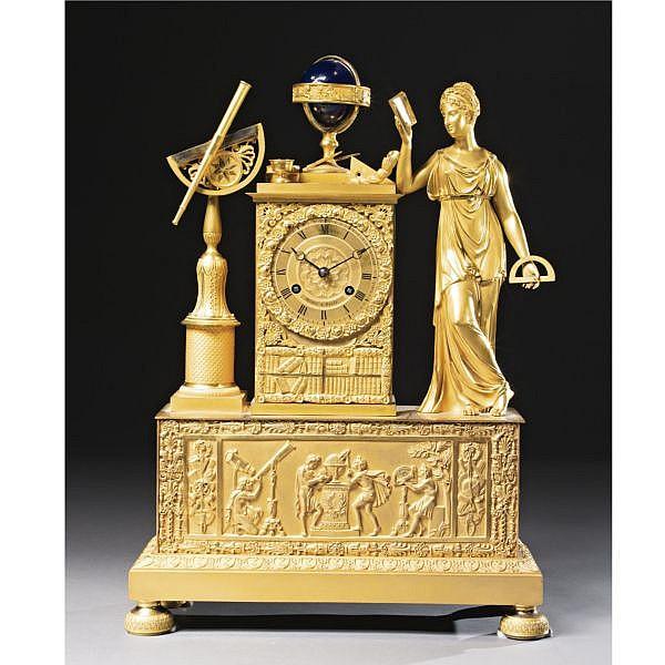 A Restauration ormolu and enamel mantel clock, the dial signed Minet à Paris circa 1820