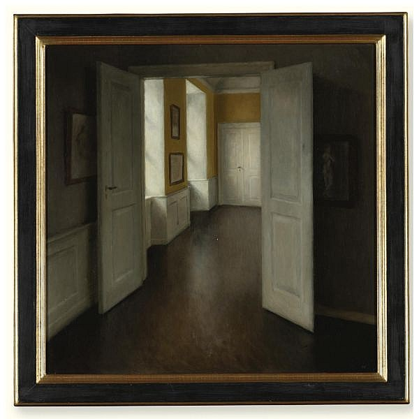 Hans Eriksen , 1912-1982 Interior oil on board