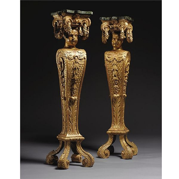 An Important Pair of George II Carved Giltwood Candle Stands Attributable to John Boson or Benjamin Goodison circa 1730