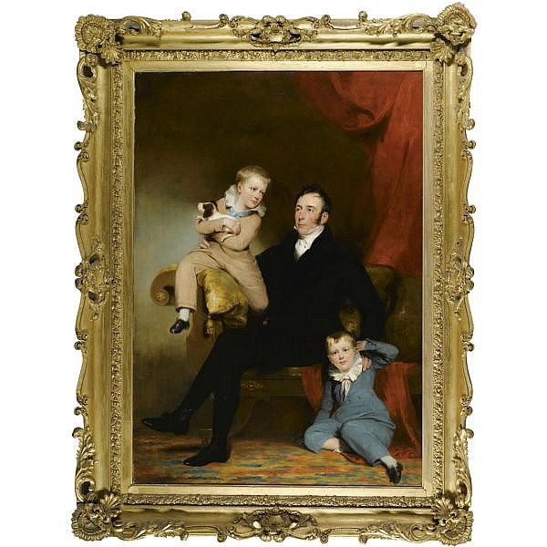 Sir John Watson Gordon R.A., P.R.S.A. , 1788-1864 William Johnston of Lathrick with his two sons oil on canvas, held in a Regency frame