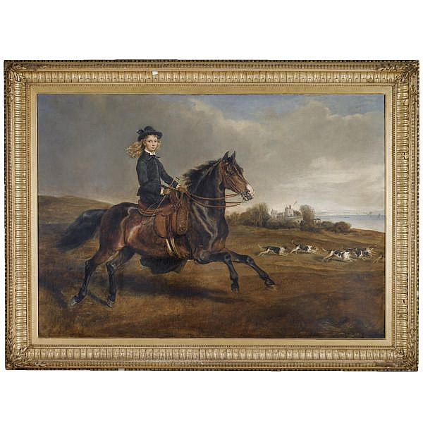 Sir Francis Grant P.R.A. , 1803-1878 Portrait of Lady Victoria Leveson-Gower (1867-1953) on her pony Lady Whitworth oil on canvas, held in a Regency frame