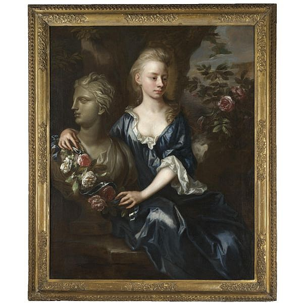 John Closterman , 1660-1711 Portrait of Isabella Willis ( d. 1727) oil on canvas, held in a 'Lely' style frame