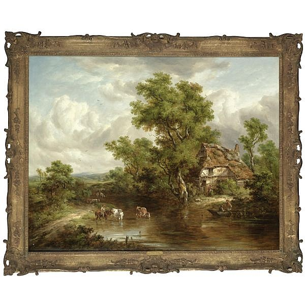 Richard Hilder , 1813-1852 A Cottage with figures and livestock by a river, Surrey oil on canvas, held in a gilded frame