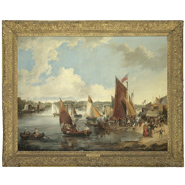 John Berney Ladbrooke , 1803-1879   The water frolic on the river Bure at Wroxham, Norfolk oil on canvas, held in a gilded frame