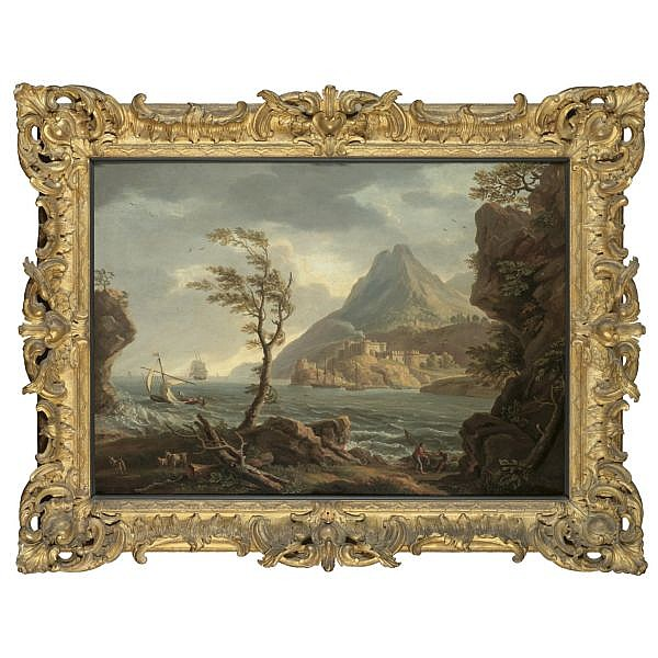Copleston Warre Bamfylde , d. 1791 A Coastal Landscape, a castle at the mouth of an estuary oil on canvas, held in a British Rococo frame
