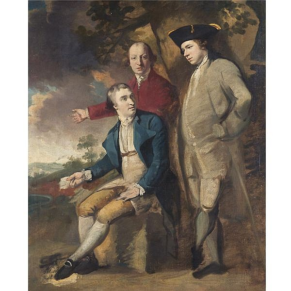 John Hamilton Mortimer A.R.A. , 1741-1779 Three gentlemen in a landscape oil on canvas
