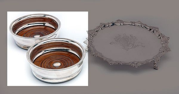 A PAIR OF GEORGE III SILVER WINE COASTERS, JOHN ROBERTS AND COMPANY, SHEFFIELD, 1810
