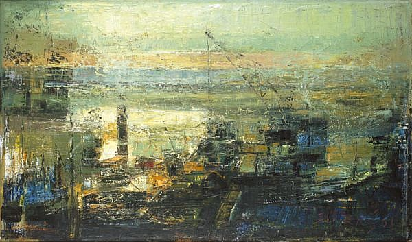 REINIS ZUSTERS (1919-1999) 'WINTER MORNING' REFLECTIONS (TRIDENT CRANE) WOOLLOOMOOLOO