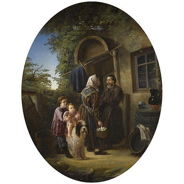 Vladimir Fadeev , b. 1846 In the courtyard oil on canvas