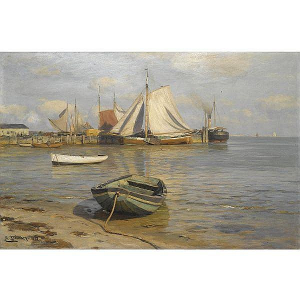 Eugen Dücker , 1841 - 1916 Harbour scene oil on canvas