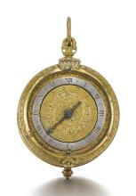 GEORGE SMITH | A RARE JACOBEAN GILT-METAL TAMBOUR CASED ALARM VERGE WATCH<br />CIRCA 1610-15
