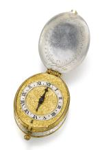 JOHN SNOW, SALISBURY | A FINE AND EARLY SILVER AND GILT-METAL MOUNTED OVAL VERGE WATCH<br />CIRCA 1630