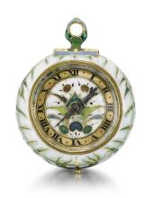WILLIAM PARTRIDGE | A FINE, RARE AND VERY SMALL GOLD AND POLYCHROME ENAMEL WATCH<br />CIRCA 1640