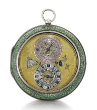 NATHANIEL BARROW, LONDON | AN EXCEPTIONAL SILVER ASTRONOMICAL ALARM VERGE WATCH WITH INDICATIONS FOR DATE, MONTHS WITH SIGNS OF THE ZODIAC, DAY WITH RULING PLANET, LUNAR DATE, MOON-PHASES AND PLANET HOUR IN LATER SHAGREEN OUTER PROTECTIVE CASE<br />CIRCA 1665