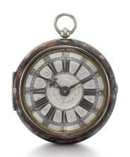 JOHN KNIBB, OXFORD | A RARE SILVER AND TORTOISESHELL PAIR CASED VERGE WATCH<br />EARLY 1680s