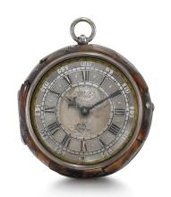 JOHN WILLS, LONDON | A FINE SILVER AND TORTOISESHELL PAIR CASED VERGE WATCH<br />CIRCA 1685