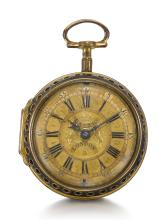 RICHARD BAKER, LONDON | AN HOUR STRIKING TWO-TRAIN VERGE CLOCK WATCH IN LATER GILT-METAL AND LEATHER COVERED SINGLE <br />CASE<br />MOVEMENT CIRCA 1695 CASE LATE 18TH CENTURY
