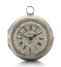 WILLIAM BERTRAM, LONDON | A FINE AND LARGE SILVER PAIR CASED VERGE WATCH<br />CIRCA 1700, NO. 555