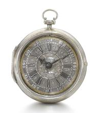 JAMES LEICESTER, STRAND | A FINE SILVER PAIR CASED VERGE WATCH WITH HIGHLY UNUSUAL PILLARS<br />CIRCA 1714, NO. 111