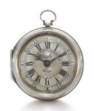 THOMAS TOMPION, LONDON | A FINE SILVER PAIR CASED VERGE WATCH<br />CIRCA 1698, NO. 2628