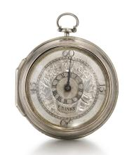 JAMES BANKS, NOTTINGHAM | A VERY RARE AND UNUSUAL SILVER PAIR CASED VERGE WATCH WITH DIFFERENTIAL DIAL<br />CIRCA 1705
