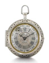DANIEL QUARE, LONDON | A RARE SILVER PAIR CASED EARLY QUARTER REPEATING VERGE WATCH<br />CIRCA 1705, NO. 253