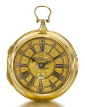 GEORGE GRAHAM, LONDON | A VERY FINE GOLD PAIR CASED VERGE WATCH WITH DATE<br />CIRCA 1713, NO. 4580