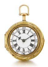 GEORGE GRAHAM, LONDON | A FINE GOLD QUARTER REPEATING WATCH WITH LATER REPOUSSE OUTER CASE<br />1739, NO. 795 REPOUSSE CASE CIRCA 1760