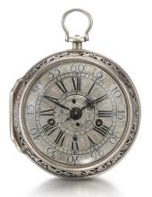 NATHANIEL DELANDER, LONDON | A FINE SILVER SINGLE CASED TWO-TRAIN ALARM VERGE WATCH<br />1740, NO. 285