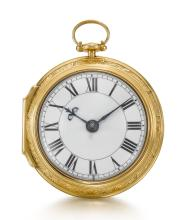 ELLICOTT, LONDON | A VERY FINE GOLD PAIR CASED REPOUSSE CYLINDER WATCH<br />1763, NO. 5152