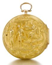 JOHN RAYMOND, LONDON | A FINE GOLD PAIR CASED VERGE WATCH WITH REPOUSSE SCENE<br />1771, NO. 3390