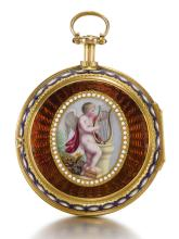 ELLICOTT, LONDON | A GOLD PAIR CASED DUMB QUARTER REPEATING WATCH IN LATER GOLD AND ENAMEL OUTER CASE <br />1764, NO. 5211, OUTER CASE CIRCA 1780