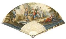 WILLIAM HUGHES, LONDON | A MAGNIFICENT AND VERY RARE SILVER, GILT-METAL, ENAMEL AND IVORY PAPER FAN WITH A TIMEPIECE MADE FOR THE CHINESE<br />MARKET<br />MID 18th CENTURY, NO. 1795