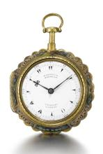 MARKWICK MARKHAM, PERIGAL, LONDON | A RARE GILT-METAL AND HORN PAIR CASED MINUTE REPEATING CYLINDER WATCH FOR THE TURKISH MARKET<br /> CIRCA 1780, NO. 20