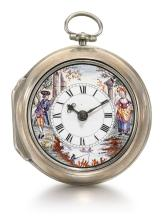 THOMAS WARREN, LONDON | AN AMUSING SILVER PAIR CASED VERGE WATCH WITH POLYCHROME ENAMEL PAINTED DIAL<br />1770, NO. 1797