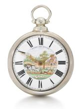 J. TELFORD, BELLINGHAM | A CHARMING SILVER PAIR CASED VERGE WATCH WITH POLYCHROME ENAMEL PAINTED DIAL<br />1861, NO. 7066