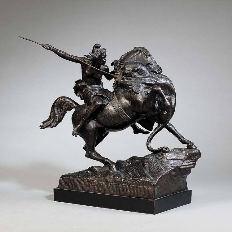 AUGUST KARL EDOUARD KISS, 1802-1865, A BRONZE GROUP OF AN AMAZON ATTACKED BY A TIGER CIRCA 1900