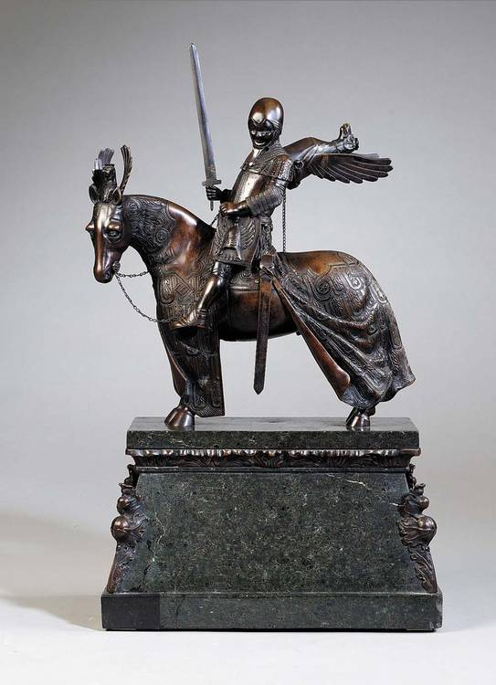 HANS MÜLLER, B.1873, A BRONZE SCULPTURE 'KNIGHT OF VERONA', AUSTRIAN SCHOOL CIRCA 1900