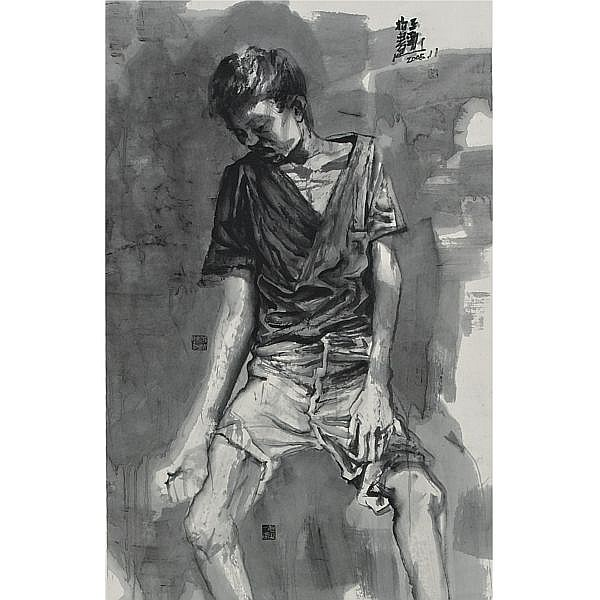 Wang Jinsong , B. 1963 Ink Figure No. 60 ink on paper