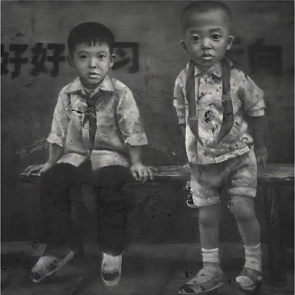 Li Tianbing , B. 1974 My Brother and I on the Bench oil on canvas