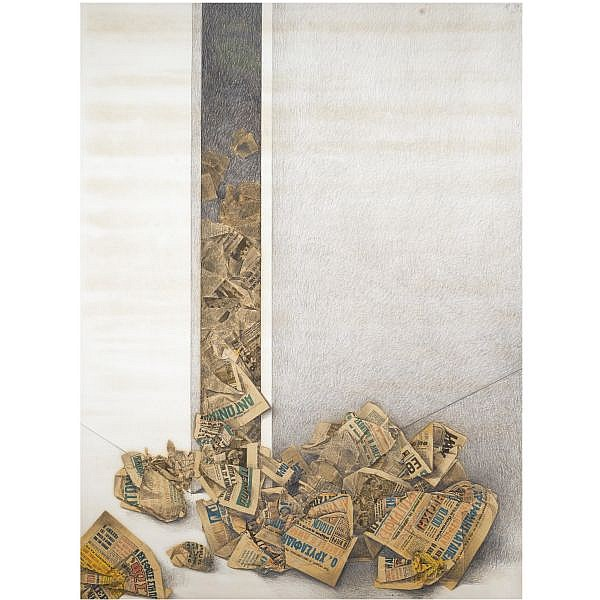 - Costas Tsoclis , Greek b. 1930 Transcriptions pencil and newspaper collage on board